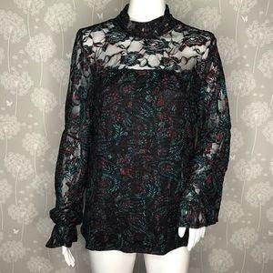 Libby Edelman Blouse Size Large Black Green Floral